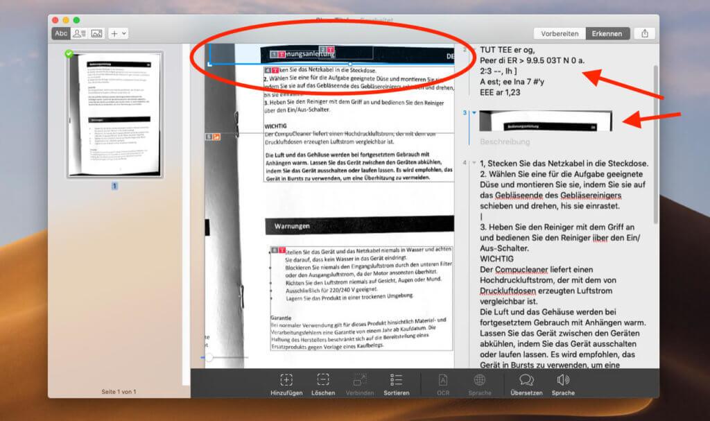 Bei manchen Dokumenten muss man unwichtige Textblöcke löschen, die zum Beispiel als Grafik oder Kauderwelsch interpretiert werden.