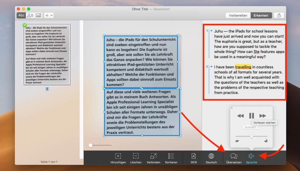 """Mit den Buttons """"Übersetzen"""" und """"Vorlesen"""" kann man Texte in alle möglichen Sprachen übersetzen lassen und sie sich dann auch vorlesen lassen."""