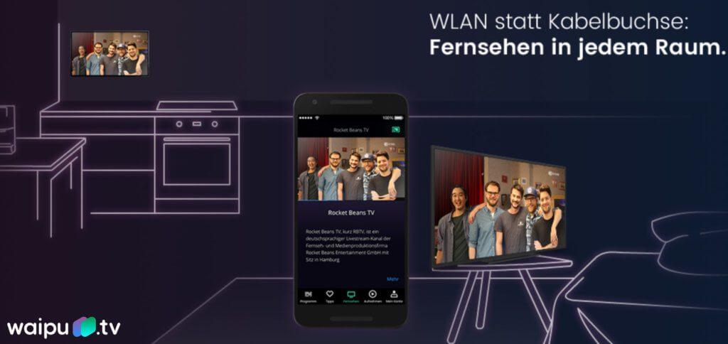 Waipu TV mit Fernseh-, Streamer- und weiteren Multimedia-Angeboten und Sonderfunktionen gibt es jetzt auch für Apple TV. Bild: waipu.tv