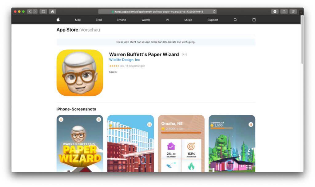 Die Spiele-App Warren Buffett's Paper Wizard von Apple war kein Witz – der Download für iOS-Geräte ist seit kurzem gratis möglich!