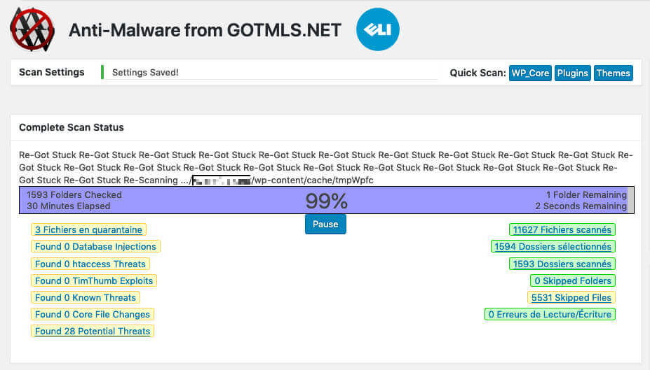 Das Anti-Malware-Plugin kämmt den kompletten WordPress-Ordner inklusive aller Unterordner durch und zeigt, welche Malware gefunden wurde und welche Dateien potentiell verdächtig aussehen.