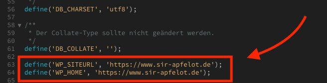 In der wp-config.php Datei läßt sich die Domain der WordPress-Webseite definieren. Dies überschreibt die Eintragung in der Datenbank.