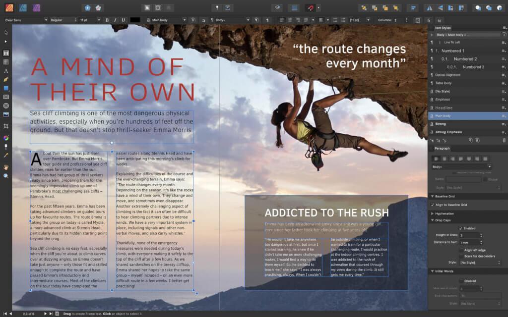 Mit Affinity Publisher hat Serif neben der Bild- und Fotobearbeitung sowie dem Design mit Vektor-Grafiken auch eine Lösung für die Gestaltung von Printerzeugnissen geliefert.