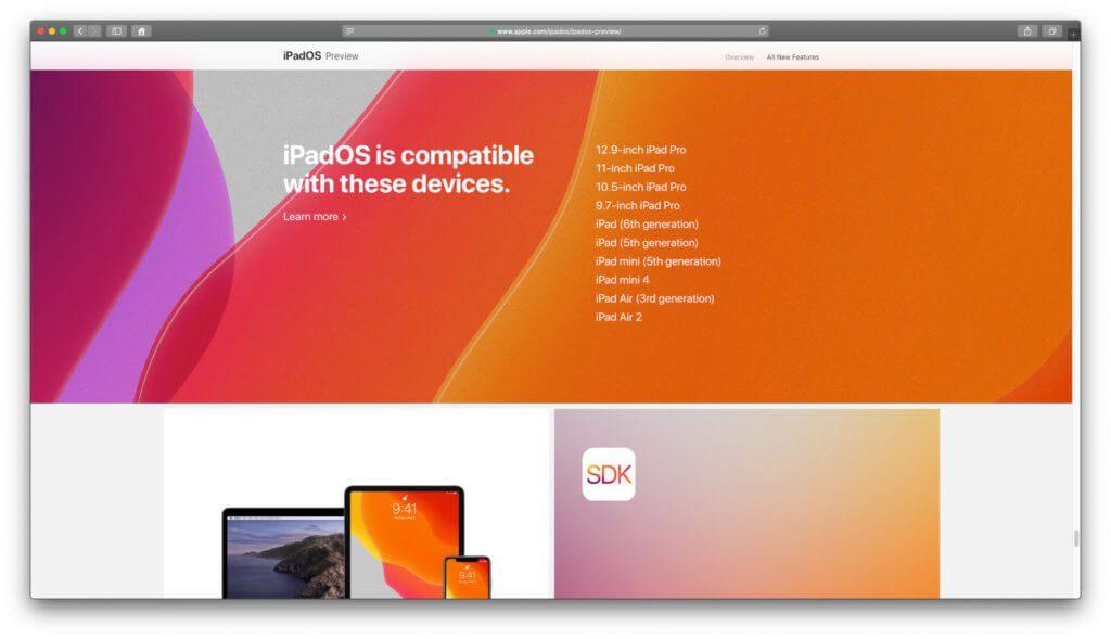 Die offizielle Liste der iPad-Modell, die iPadOS bekommen, enthält nur Modellangaben, aber keine Jahreszahlen oder Modellnummern.