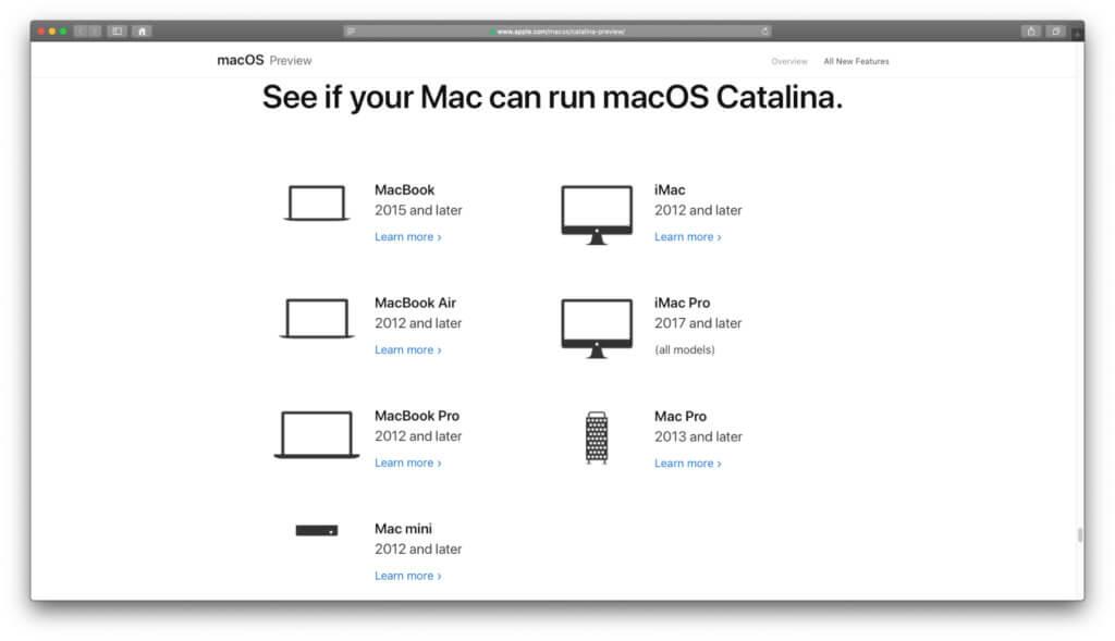 Mit macOS 10.15 Catalina kompatible Mac-Modelle von Apple. Auf der Preciew-Seite zum Betriebssystem gibt's eine Liste der Geräte.