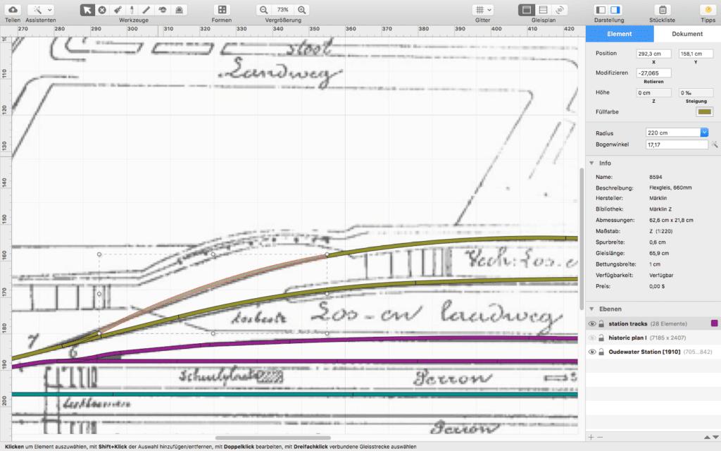 Zeichnungen können als Bild eingefügt und darüber der digitale Gleisplan gelegt werden. In der Version 6.1 kommt nun ein JMRI-Export hinzu, der die Steuerung der Bahnen per Mac ermöglicht.