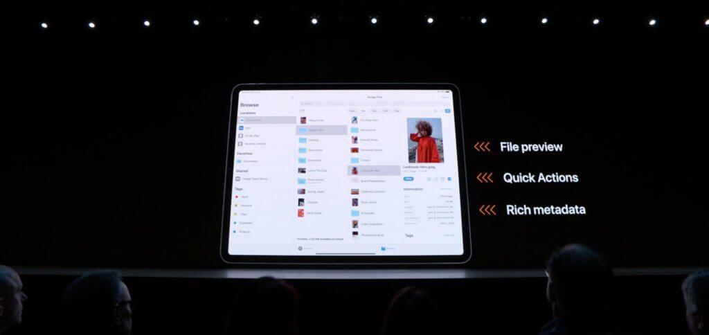Die Spalten-Ansicht in der Dateien-App (Finder-Pendant auf iOS- bzw. iPadOS-Geräten) bringt eine Vorschau, Meta-Daten und Bearbeitungsoptionen mit.