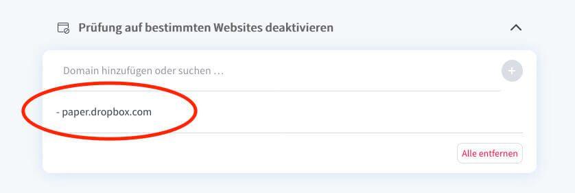In dem von mir verwendeten Addon LanguageTool gibt es eine Möglichkeit, die Funktion bei bestimmten Webseiten zu deaktivieren.