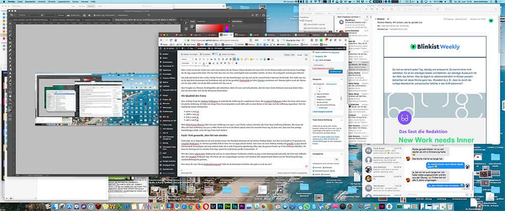 Mein Desktop… da hilft auch keine App, die hübsche Desktop-Hintergrundbilder auswählt. Die würde ich sowieso nur sehen, wenn der Mac mal neustartet.