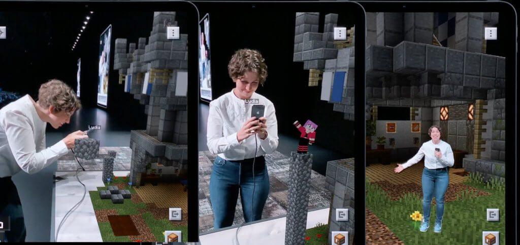 Die Vorführung von Minecraft Earth, das dank ARKit 3 nicht nur Motion Capturing einsetzen, sondern auch Personen in einer 3D-Welt zwischen Objekt-Ebenen setzen kann.