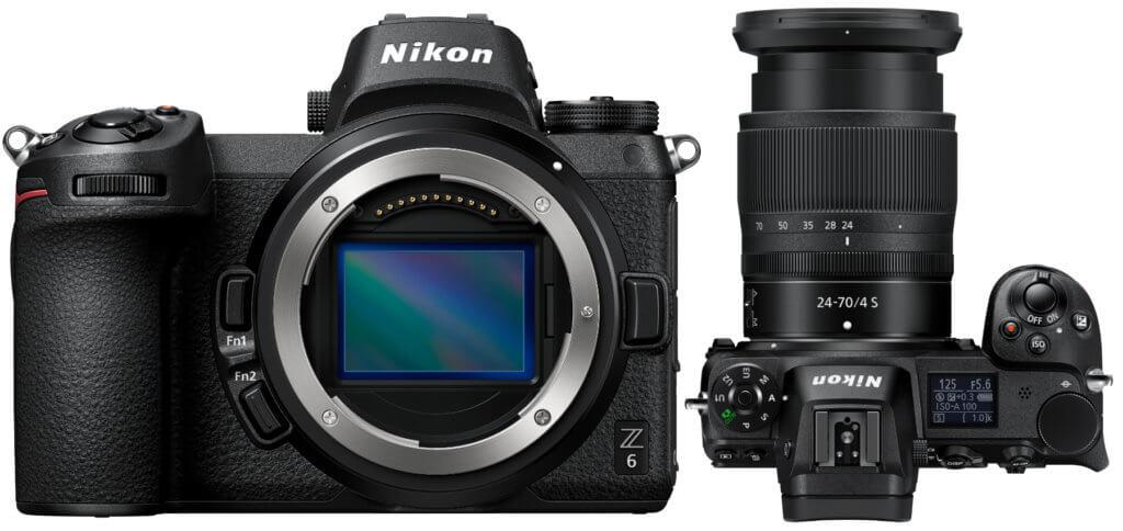 Die Nikon Z6 mit und ohne Nikkor Z Objektiv. Zudem gibt es auch noch einen FTZ-Bajonettadapter sowie weiteres Zubehör zu kaufen.