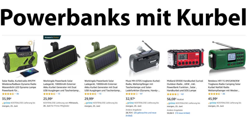 Eine Powerbank mit Kurbel sowie Solar-Panel, USB-Anschluss, Radio und mehr – einige Angebote sind gut bis sehr gut von Kunden bewertet.