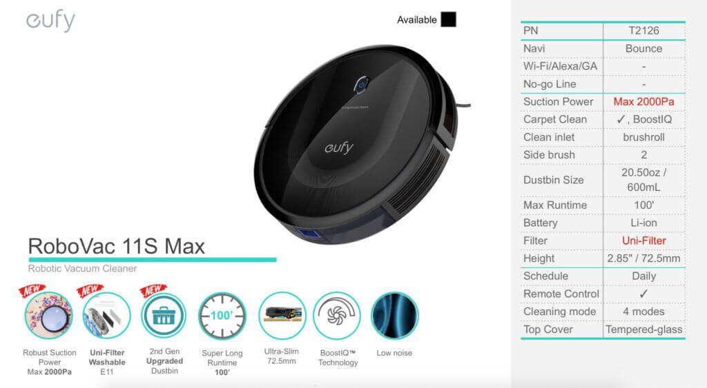 Einige der technischen Details und Funktionen des eufy RoboVac 11S Max in einer offiziellen Grafik.