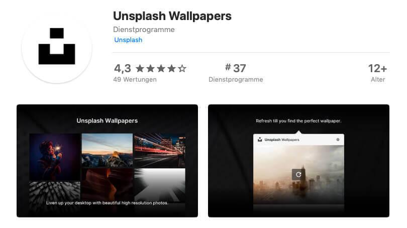 Die Unsplash Wallpapers App ist nich schlecht bewertet. Nur die fehlende Unterstützung für mehrere Displays ist ein Kritikpunkt.