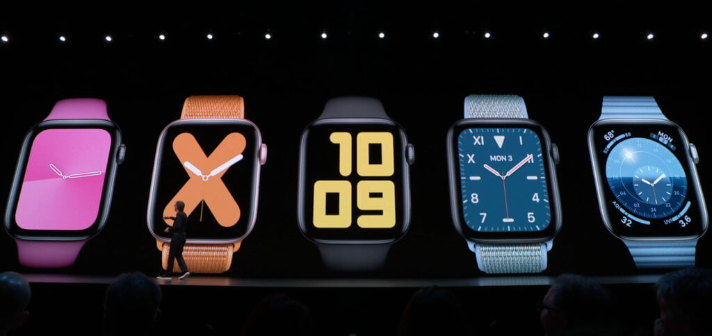 Die 5 neuen Apple Watch Faces: Gradiant, Numeral, Digital, California Dial und Solar.