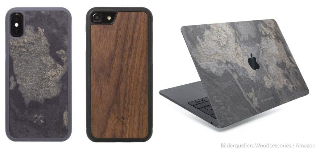 Woodcessories bietet von der iPhone-Hülle aus Holz über das MacBook-Skin aus Stein viel ökologisches Zubehör an – und pflanzt für jeden verkauften Artikel einen Baum.