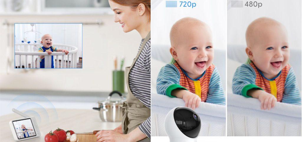 Die 720p HD-Kamera des Babyfons liefert ein klares Bild auf das 5 Zoll LCD-Display des Kontrollgeräts. Darüber kann auch mit dem Baby gesprochen und der Kameraschwenk ausgeführt werden.