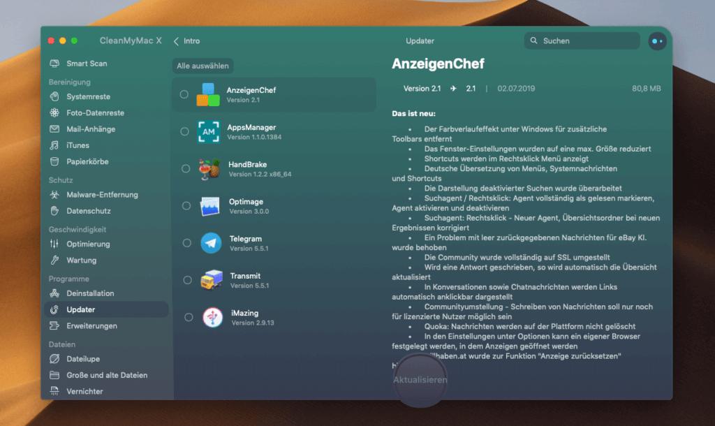 Im Vergleich mit MacUpdater wirkt die Aktualisierungsfunktion von CleanMyMac X wie Spielkram. Während MacUpdater bei mir 56 Aktualisierungen findet, zeigt mir CleanMyMac nur 7 Apps an.