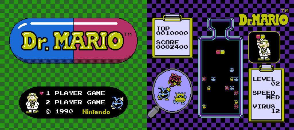 TV-Format, Pixel-Grafik und Steuerung über Controller – das ist Dr. Mario für das Nintendo Entertainment System.
