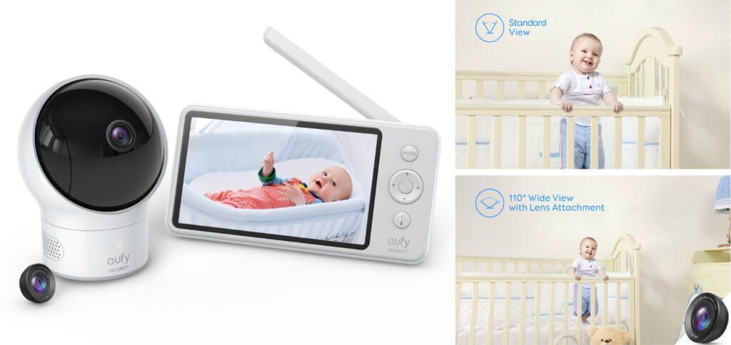 Der eufy SpaceView von Anker ist ein Baby-Monitor bzw. Babyfon mit HD-Kamera, Mikrofon, Thermometer und schwenkbarem Objektiv. Übertragung auf bis zu 140 Meter ohne WLAN möglich.