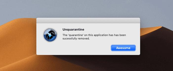 Mit einem Klick ist die Einschränkung von macOS entfernt. Awesome!