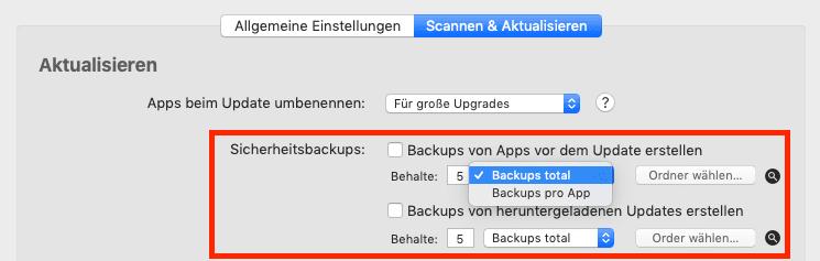Hier sieht man die Einstellungsmöglichkeiten der Backup-Option, um alte Versionen von Apps zu behalten.