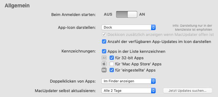 """Meine Einstellungen im Reiter """"Allgemein""""."""