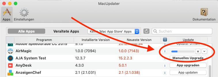 Startet man mehrere Updates hintereinander, erledigt MacUpdater diese nach und nach und zeigt den Fortschritt immer neben der App an, die gerade ein Update erhält.