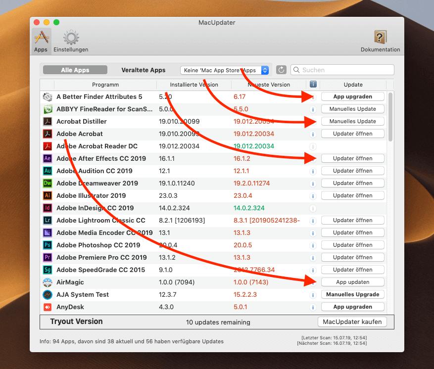 Im Hauptfenster von MacUpdater findet man alle gescannten Apps und kann nach vorhandenen Aktualisierungen filtern. Hier sieht man auch die vier unterschiedlichen Buttons, die je nach Update zur Verfügung stehen.