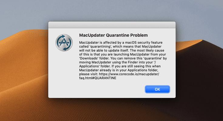 Die MacUpdater App hat mit auf die Quarantäne hingewiesen. Das erweiterte Dateiattribut Quarantine kann man mit einer weiteren App der gleichen Entwickler entfernen.