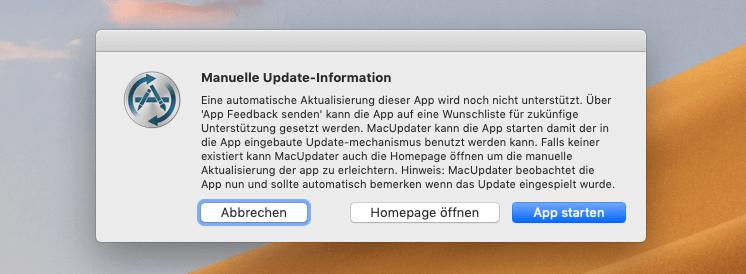 Sofern die App derzeit noch nicht von MacUpdater unterstützt wird, findet man den Hinweis, dass es sich um ein manuelles Update handelt. Dazu offeriert MacUpdater aber noch den Link zur Homepage der Software, um das Update möglichst einfach zu gestalten.