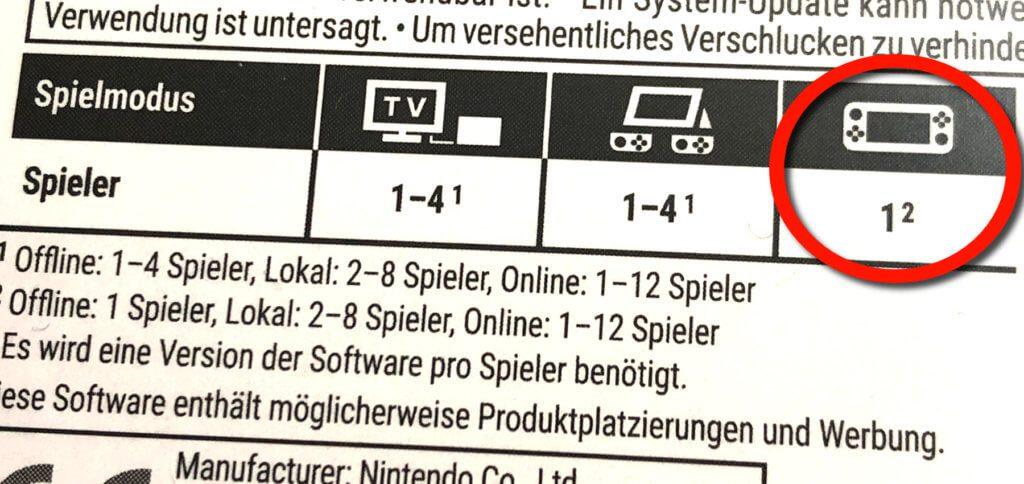 """Woran erkenne ich, ob ein Spiel mit der Switch Lite kompatibel ist? An der Aufführung von Spielern im """"Handheld-Modus""""."""