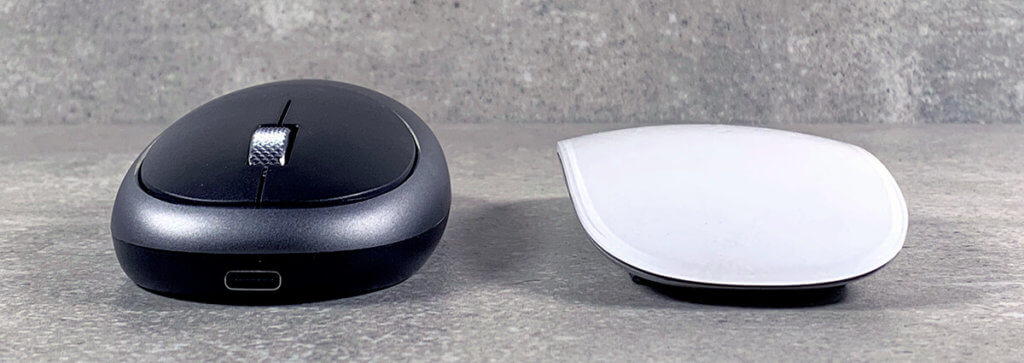 Hier sieht man, dass die Satechi Bluetooth-Maus nur etwas höher als die Apple Magic Mouse ist.