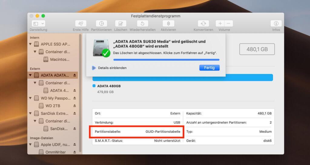 Vor der Verwendung der ADATA SSD sollten Mac-Benutzer das Laufwerk auf APFS formatieren.