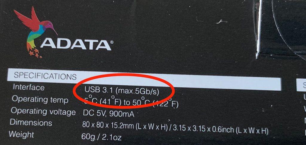 Laut Packungsaufdruck unterstützt die SSD von ADATA USB 3.1 mit 5 Gbit/s – bei 400 MB/s im Test erscheint mir das jedoch etwas tiefgestapelt.