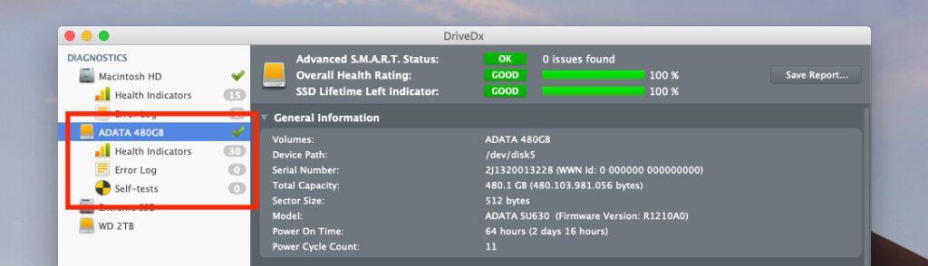 Da die ADATA SSD bei mir nur wenige Stunden in Betrieb war, ist der SMART-Status natürlich noch sehr gut. Je älter die Laufwerke werden, umso mehr kritische Anmerlungen wird man mit dem Tool DriveDx finden.