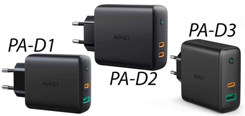 Die AUKEY Dynamic Detect Ladegeräte bieten viel Leistung. Das PA-D2 bietet diese über zwei USB-C-Anschlüsse mit Power Delivery. Das PA-D3 ist mit 60 W zudem fürs Apple MacBook Pro / Air geeignet.