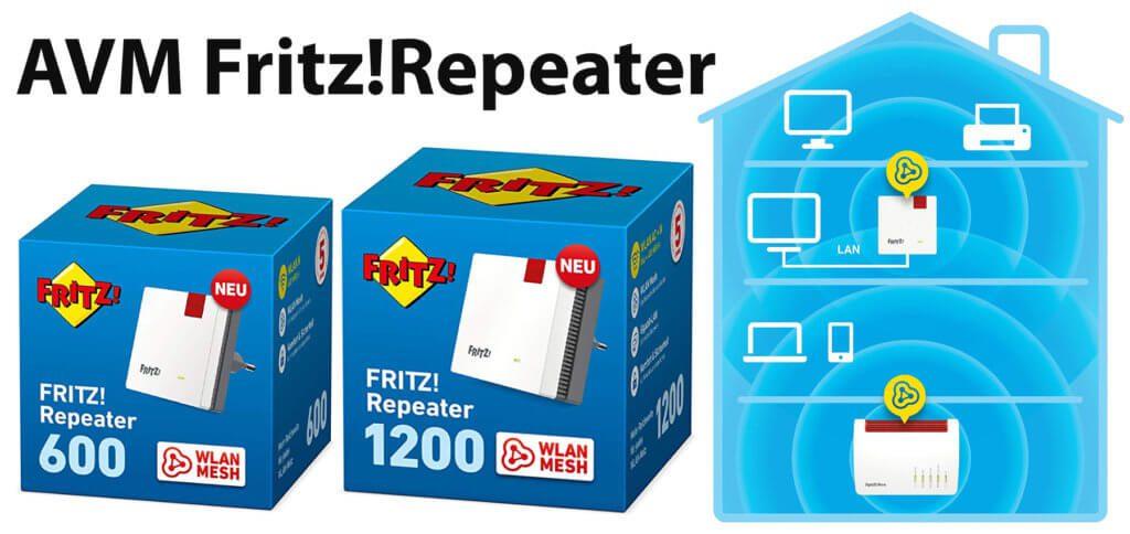 Der AVM Fritz!Repeater 600 und der AVM Fritz!Repeater 1200 sorgen für die Weiterleitung von WLAN-Signalen des Routers. Details in diesem Beitrag.