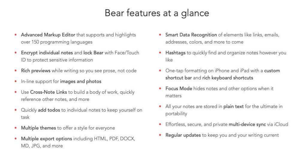 Die Features von Bear in der Übersicht.
