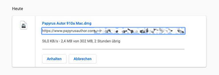 Hier ein weiterer erfolgloser Versuch mit Chrome – jetzt über 2h Downloadzeit. Wenige Minuten später war er abgebrochen.
