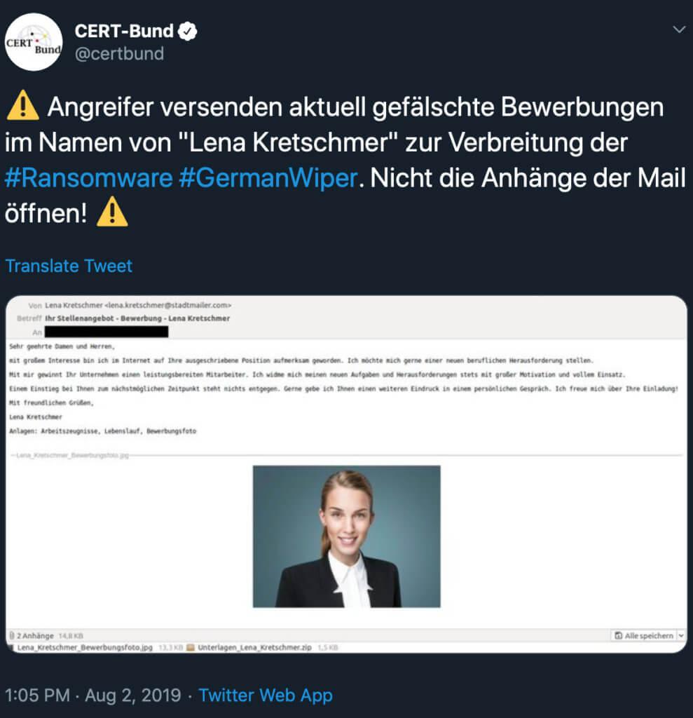 Die Windows-Malware GermanWiper kommt per E-Mail und sieht wie eine Bewerbung aus. Öffnet nie den Zip- oder RAR-Anhang einer solchen Mail. Es könnte ein Virus drin stecken! German Wiper E-Mail Lena Kretschmer