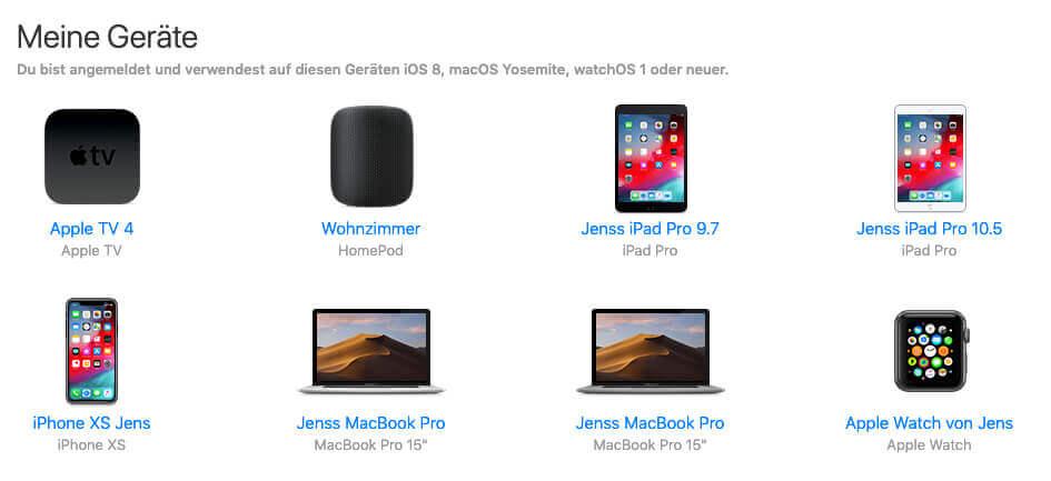 Unter Einstellungen im iCloud-Account findet man die Liste mit seinen ganzen Geräten, in denen man seinen iCloud-Account nutzt.