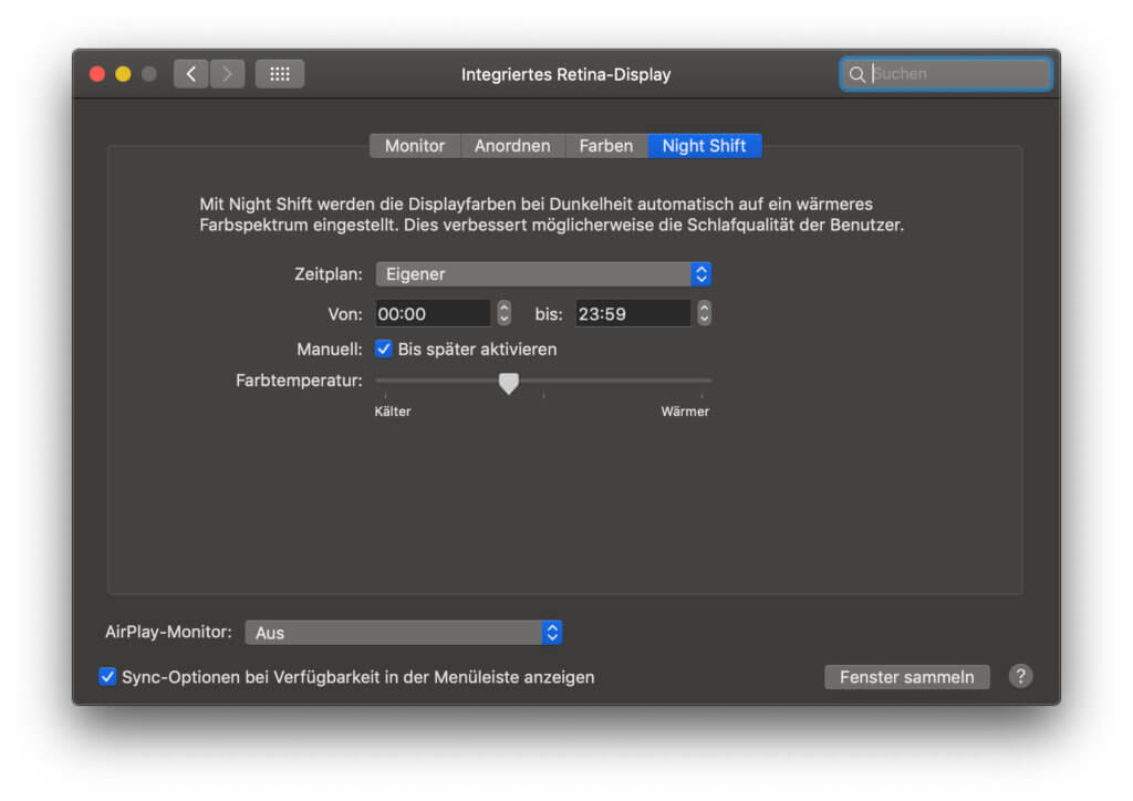 In den Systemeinstellungen im Bereich Monitore könnt ihr einen Night Shift Zeitplan definieren und auch die Farbtemperatur wärmer oder kälter stellen.