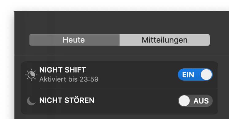 Am Apple Mac könnt ihr unter macOS den Blaulichtfilter direkt über die Menüleiste zuschalten. Dann greifen aber nur die Standard-Einstellungen.