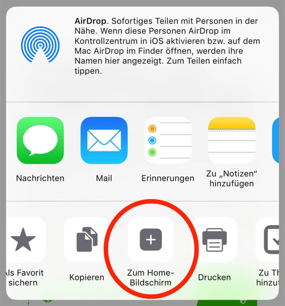 """Im Share-Sheet findet man den Button """"Zum Home-Bildschirm hinzufügen"""". Damit läßt sich ein Shortcut erstellen, der eine Webseite in Safari öffnet."""