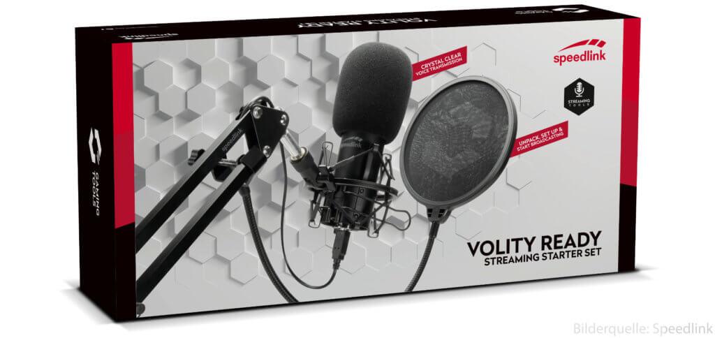Das Speedlink VOLITY READY Streaming Starter Set enthält ein Mikrofon mit Stativ, Mikrofonarm, Kabeln und weiterem Zubehör. Ideal für Podcast, Stream, Let's Play und mehr.