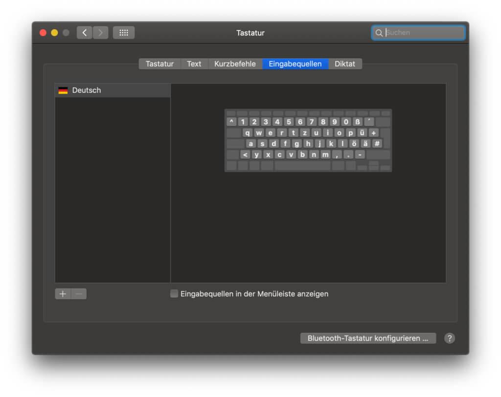 """In den macOS Systemeinstellungen findet ihr unter """"Tastatur"""" die Eingabequelle, in denen ihr Sprachen und andere Optionen wählen könnt."""