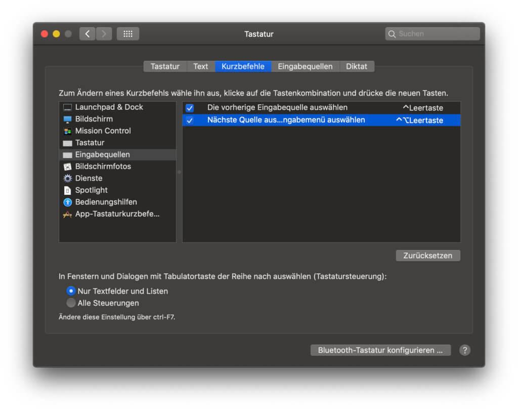 Um zwischen deutscher und Unicode-Tastenbelegung per Tastenkombination zu wechseln, könnt ihr hier die Einstellungen vornehmen.