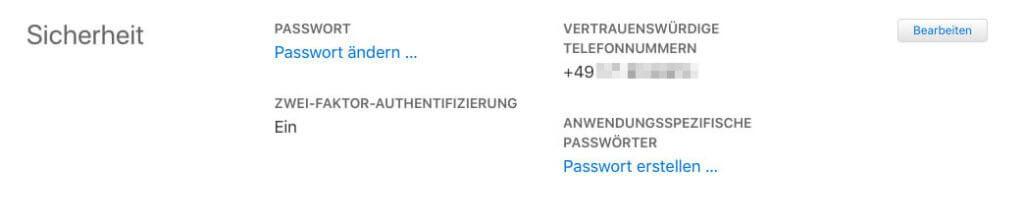 Wenn man sowieso gerade die Liste der Geräte durchschaut, kann man direkt die Telefonnummern checken, die als vertrauenswürdige Nummern beim iCloud-Account hinterlegt sind.