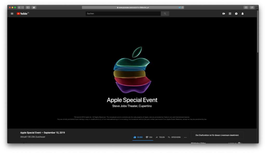 Als YouTube-Stream versammelte das Apple Special Event zeitweise über 1,8 Millionen Zuschauer/innen online.